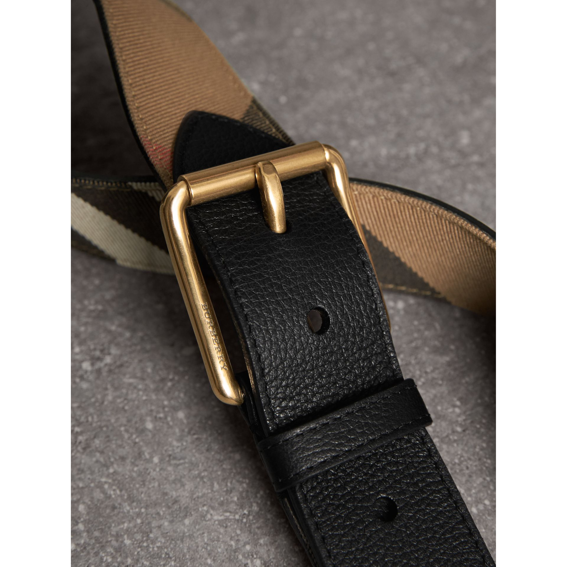 House Check and Leather Belt in Black - Men | Burberry - gallery image 1