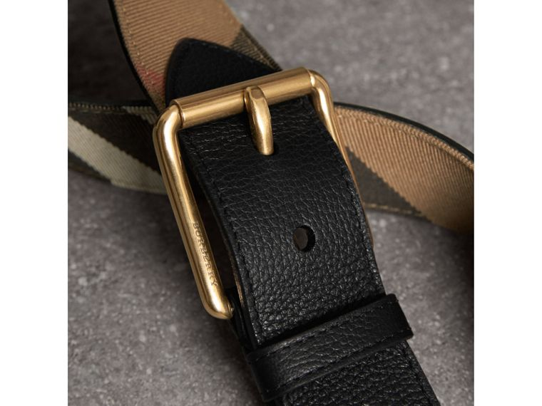 House Check and Leather Belt in Black - Men | Burberry Australia - cell image 1