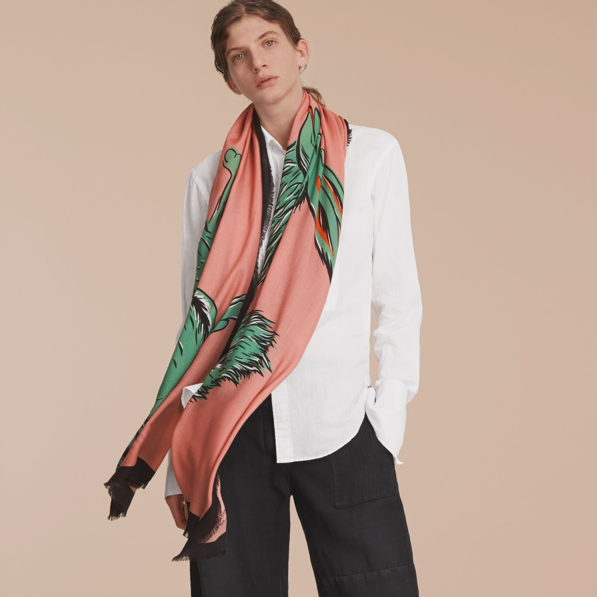 Beasts Print Lightweight Cashmere Scarf in Blossom Pink - Women | Burberry - gallery image 3