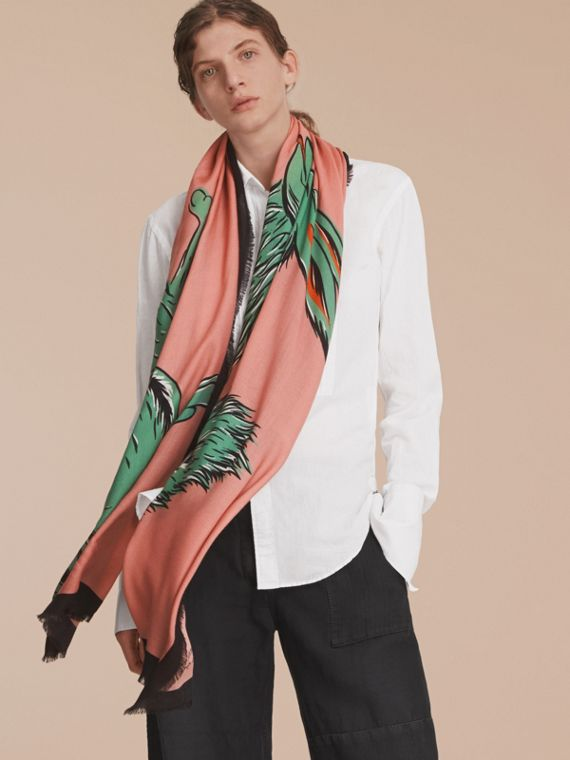 Beasts Print Lightweight Cashmere Scarf in Blossom Pink - Women | Burberry - cell image 2