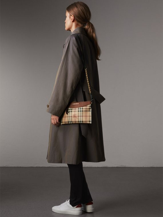 Haymarket Check and Two-tone Leather Clutch Bag in Bright Toffee/ Multicolour - Women | Burberry Australia - cell image 2