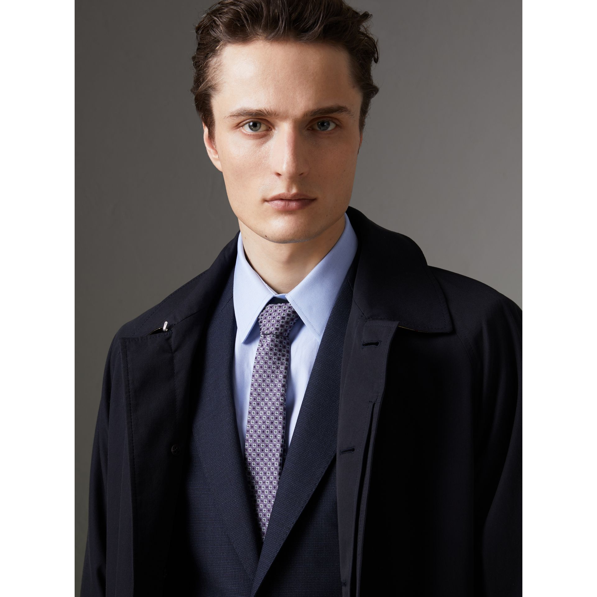Slim Cut Daisy Silk Jacquard Tie in Lilac - Men | Burberry - gallery image 3