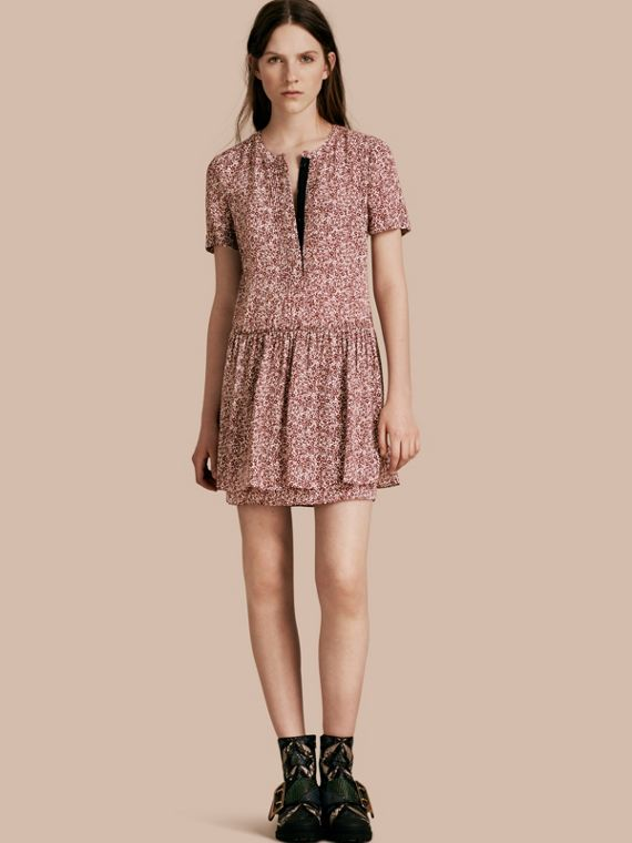 Floral Silk Georgette Shift Dress Garnet Pink