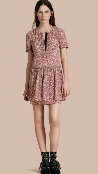 Floral Silk Georgette Shift Dress