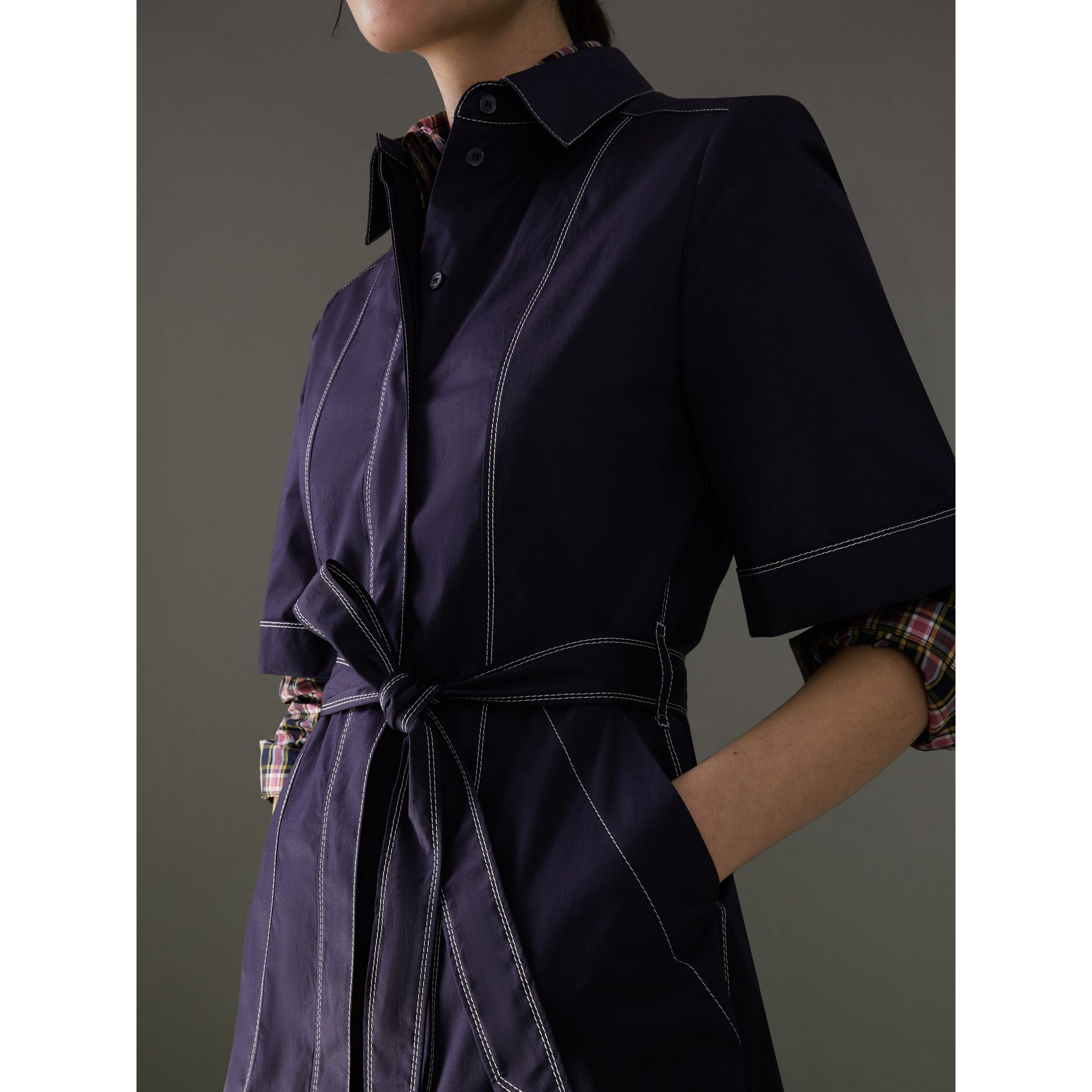 Topstitch Detail Stretch Cotton Dress in Navy - Women | Burberry - gallery image 1