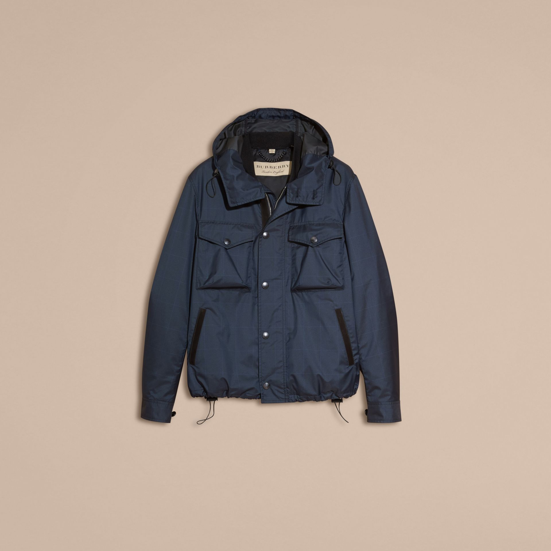 Navy Hooded Technical Jacket with Lambskin Trim - gallery image 4