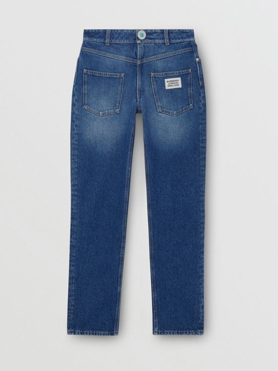 Straight Fit Logo Detail Reconstructed Jeans in Indigo