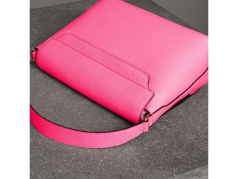 Medium Embossed Leather Messenger Bag in Neon Pink | Burberry - cell image 4