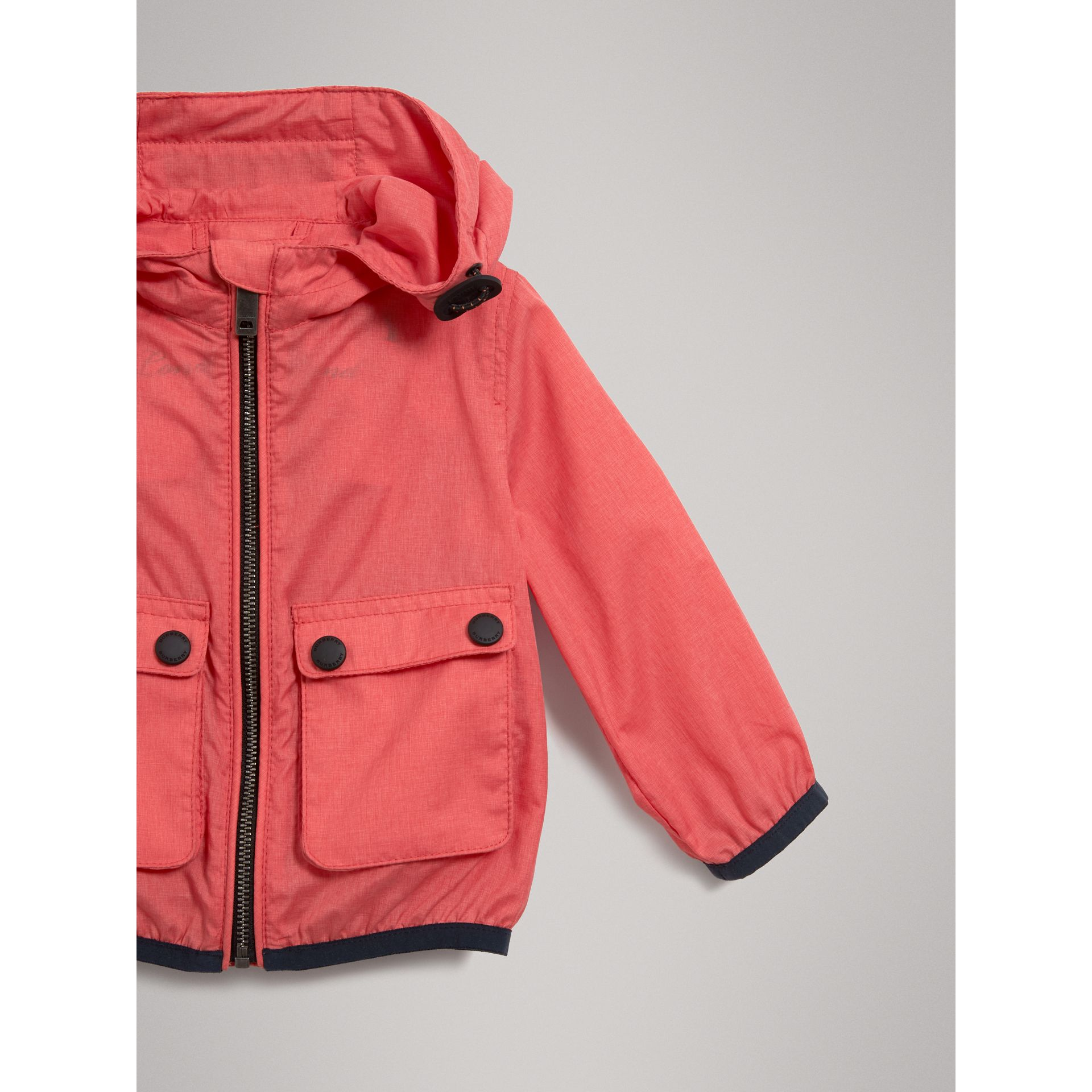 Showerproof Hooded Jacket in Bright Coral Pink - Children | Burberry - gallery image 4