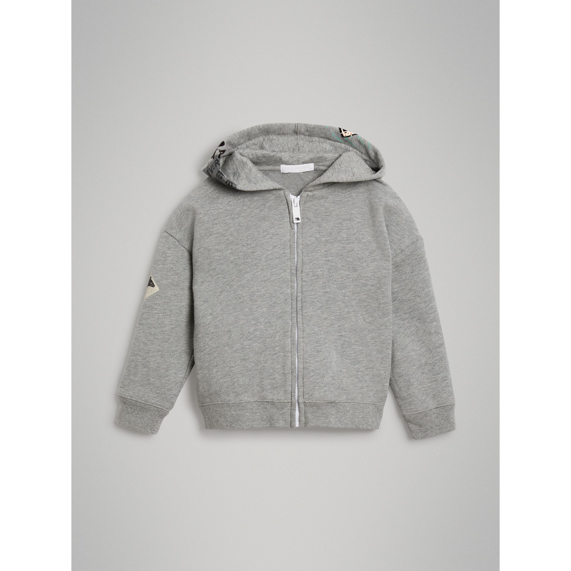 London Street Art Print Cotton Hooded Top in Grey Melange - Girl | Burberry - gallery image 0