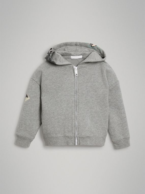 London Street Art Print Cotton Hooded Top in Grey Melange