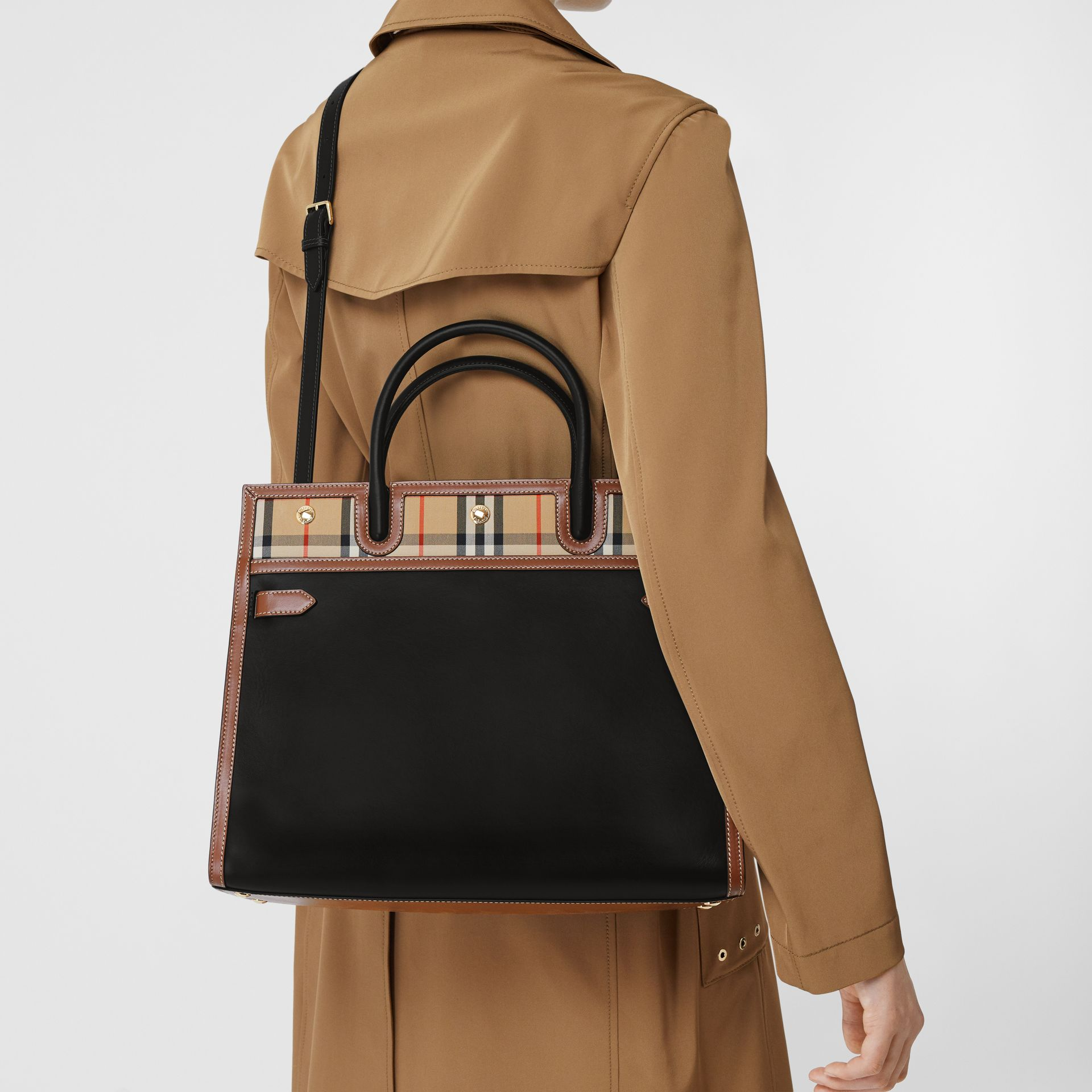 Medium Leather and Vintage Check Two-handle Title Bag in Black - Women | Burberry - gallery image 8