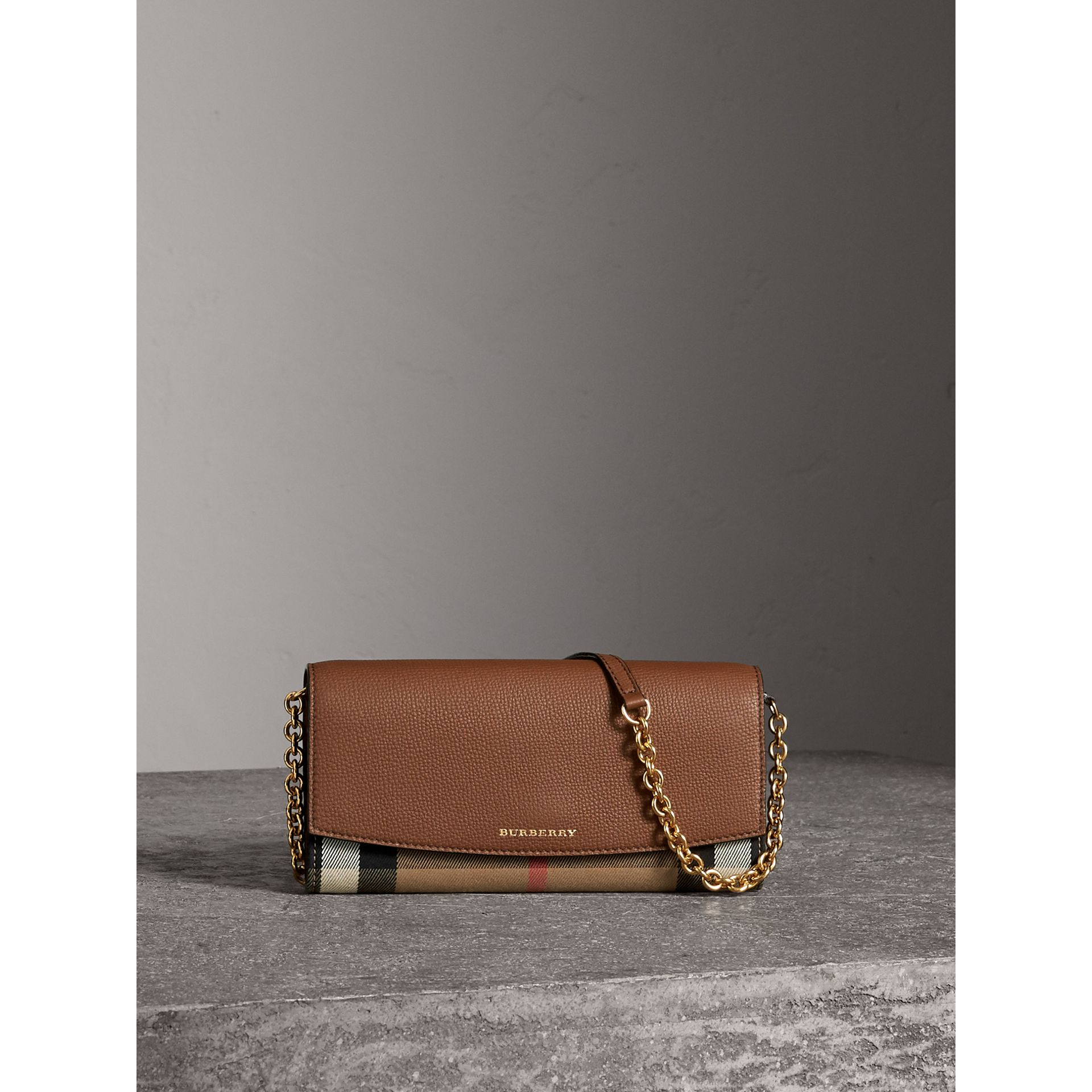 House Check and Leather Wallet with Chain in Tan - Women | Burberry Australia - gallery image 0