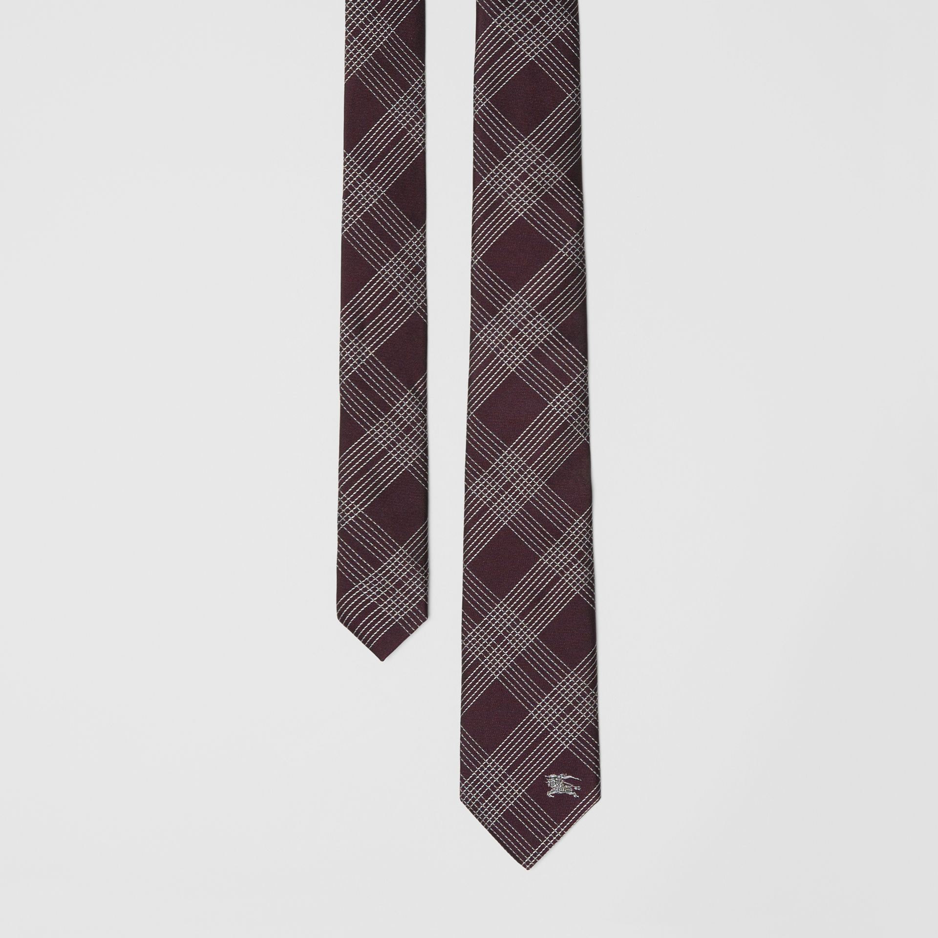 Modern Cut Check Silk Jacquard Tie in Dark Elderberry - Men | Burberry United Kingdom - gallery image 0