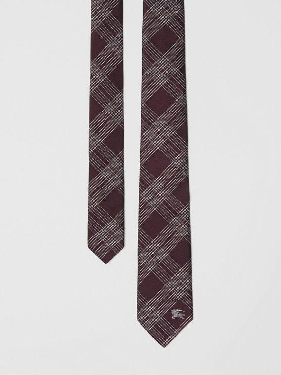 Modern Cut Check Silk Jacquard Tie in Dark Elderberry