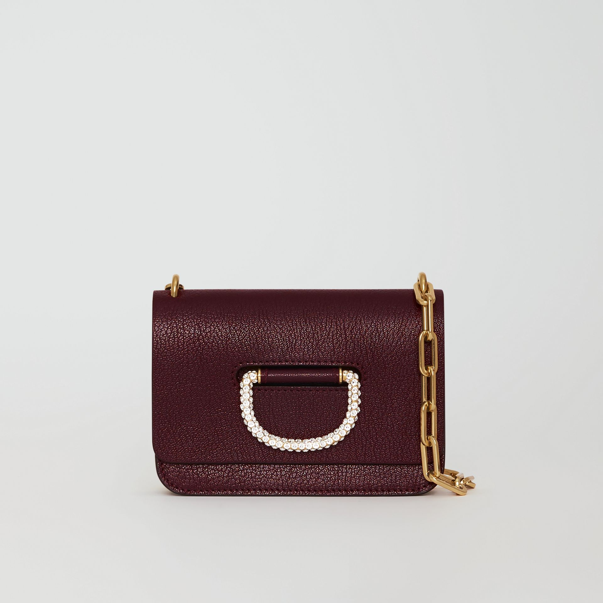 Borsa The D-ring mini in pelle con cristalli (Rosso Violetto Intenso) - Donna | Burberry - immagine della galleria 0