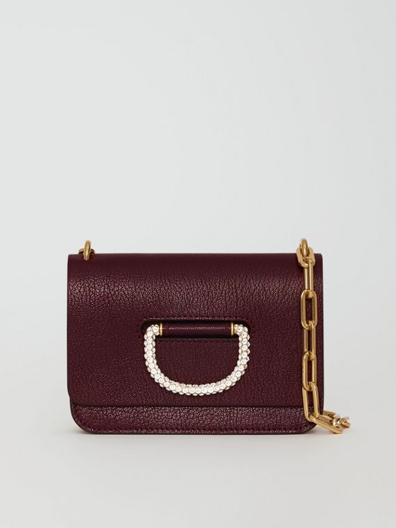Mini sac The D-ring en cuir avec cristaux (Bordeaux Intense)