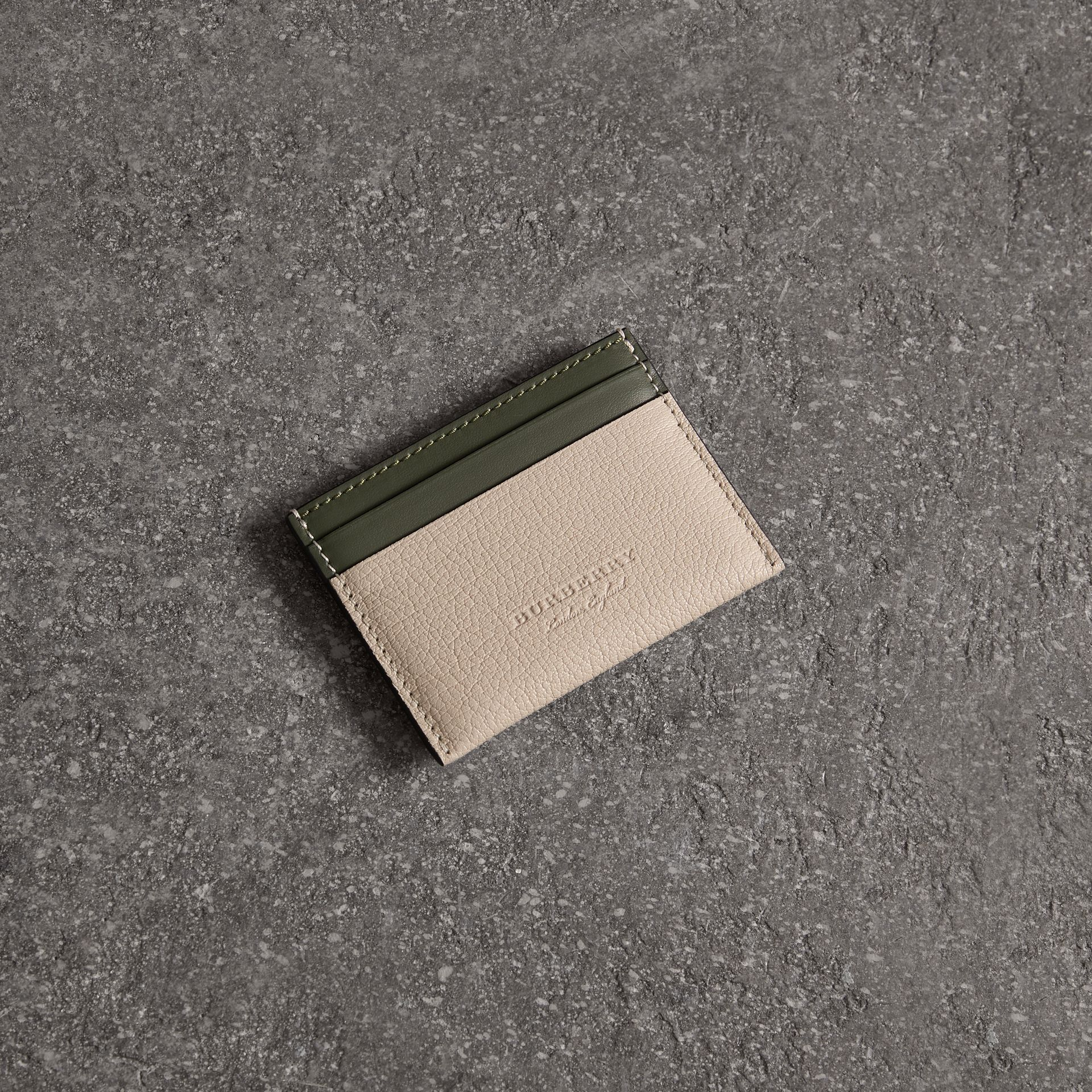 Two-tone Leather Card Case in Stone | Burberry - gallery image 0