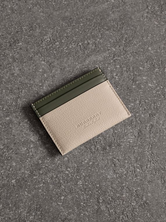 Two-tone Leather Card Case in Stone