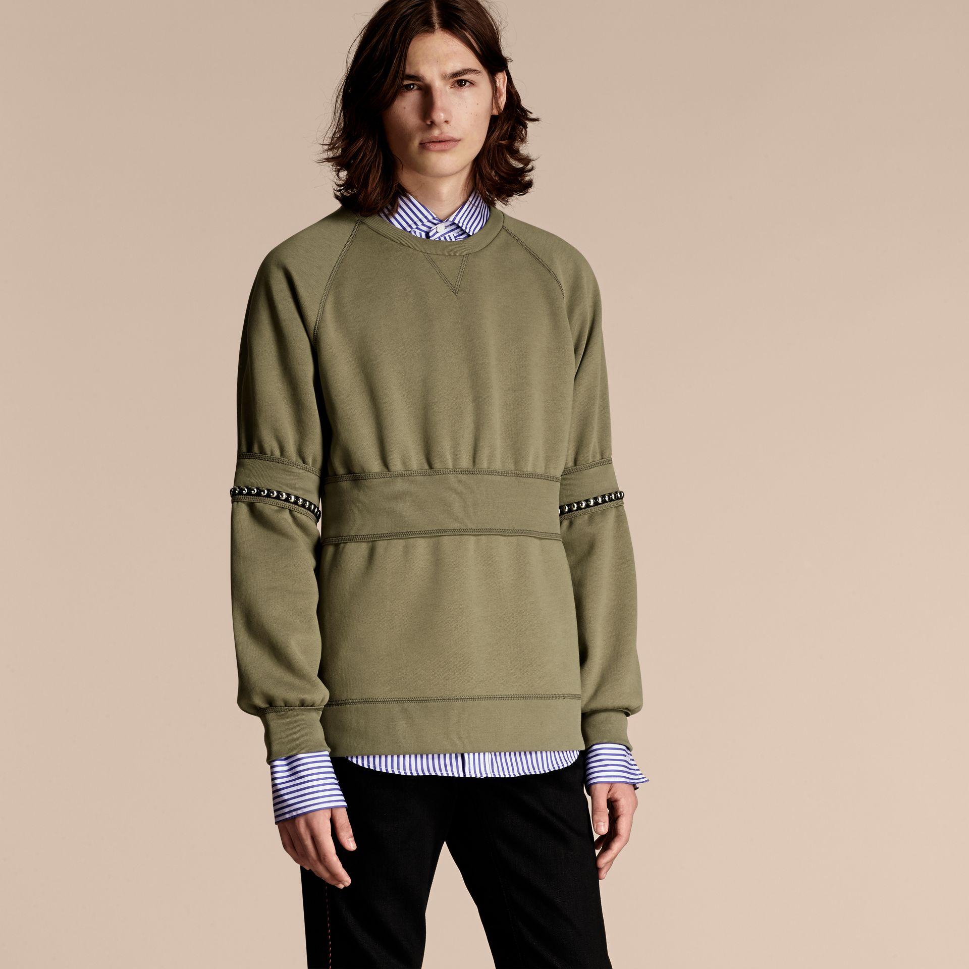 Khaki Puff-sleeved Cotton Blend Jersey Sweatshirt - gallery image 1