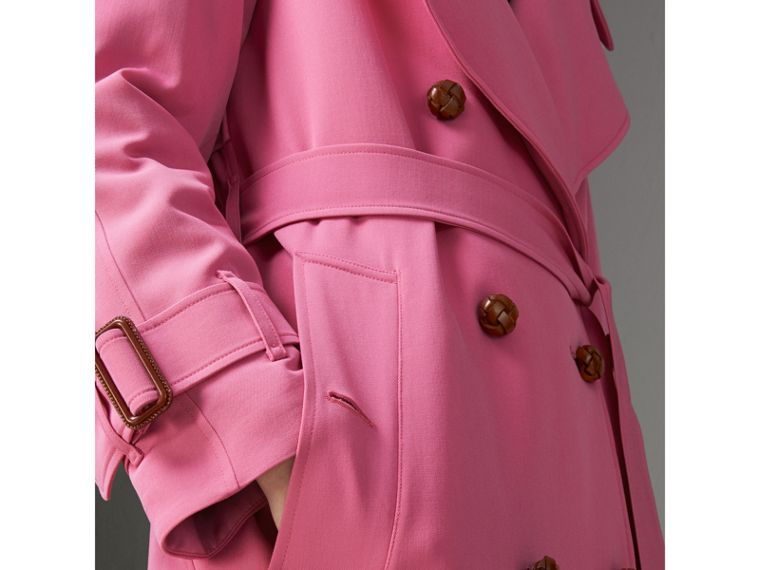 Oversized Lapel Wool Gabardine Trench Coat in Bright Pink - Women | Burberry Australia - cell image 1