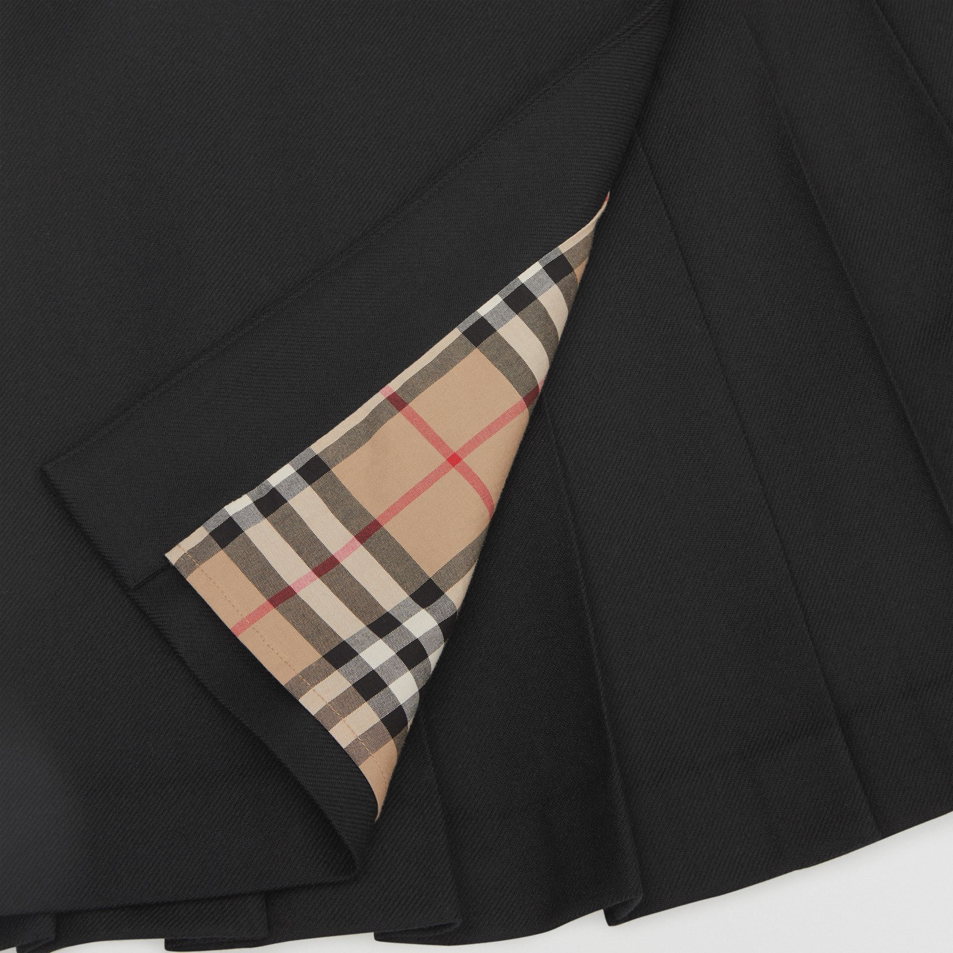 Lambskin Detail Wool Twill Kilt in Black | Burberry - gallery image 1