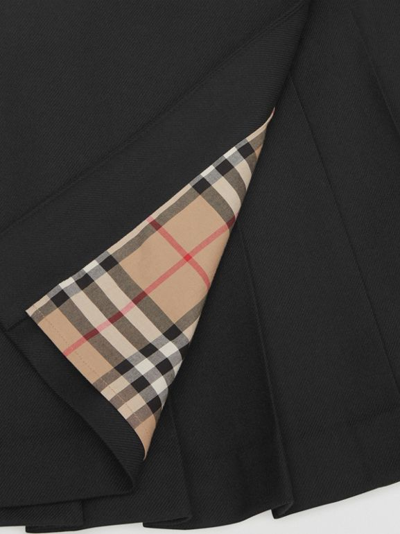 Lambskin Detail Wool Twill Kilt in Black | Burberry - cell image 1