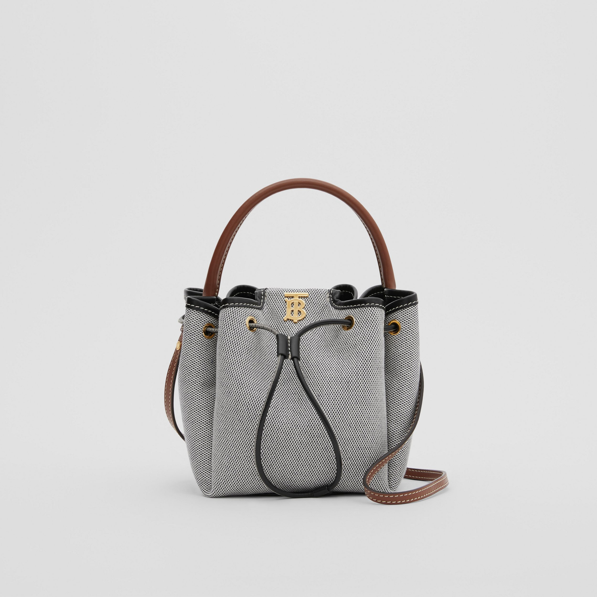 Monogram Motif Canvas and Leather Bucket Bag in Black - Women | Burberry - 1