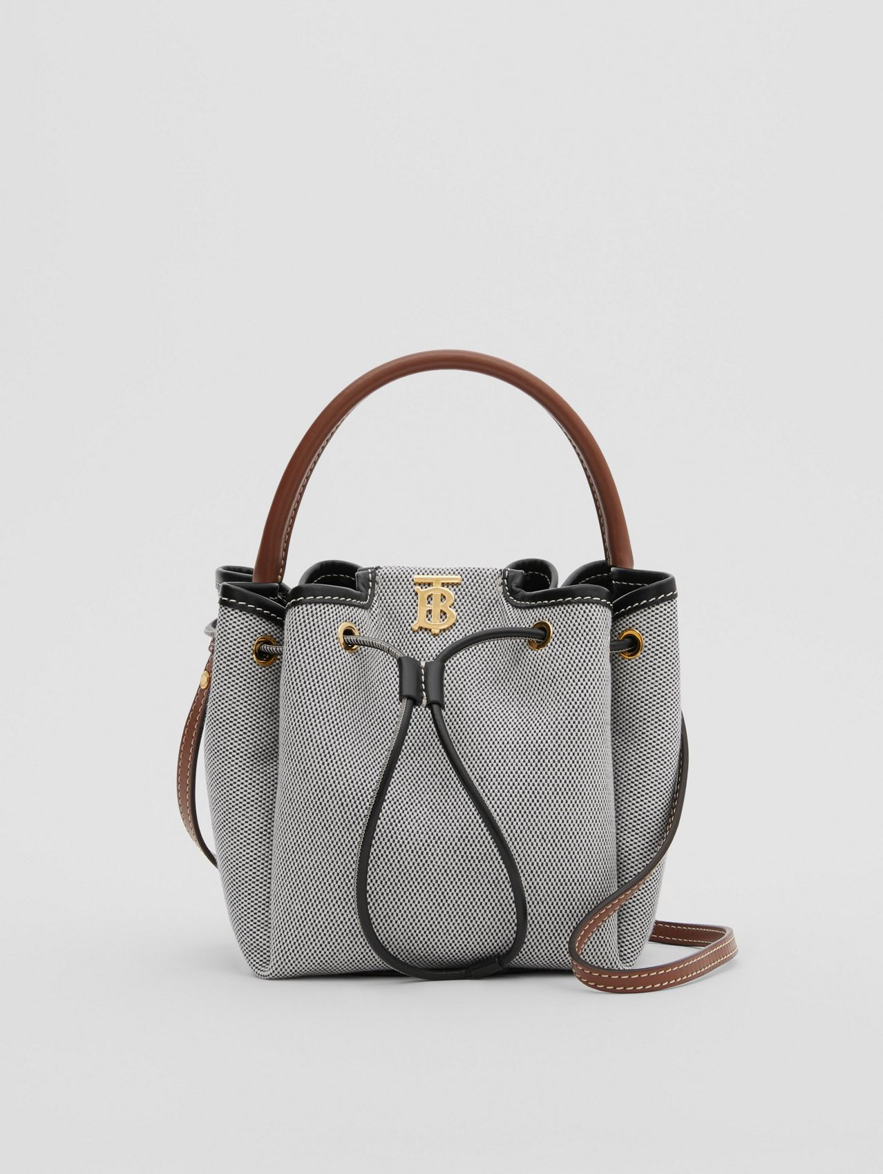 Monogram Motif Canvas and Leather Bucket Bag in Black