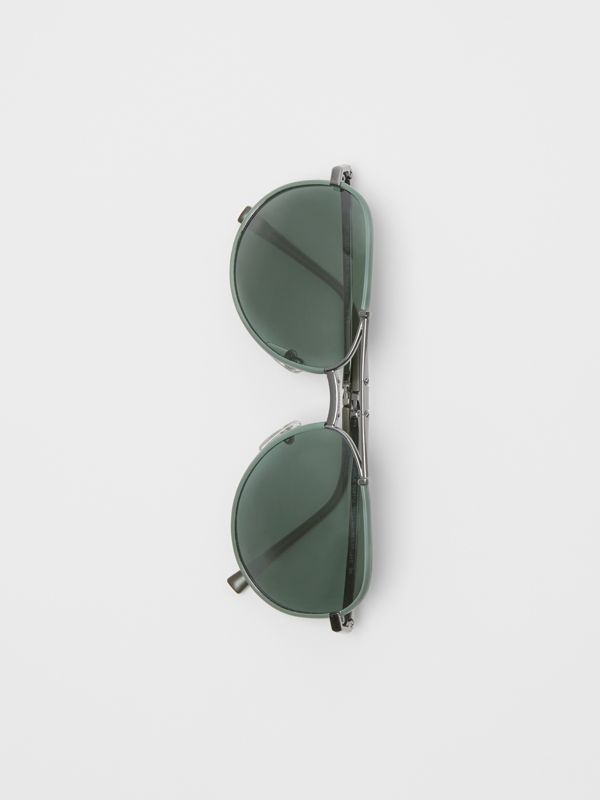 Folding Pilot Sunglasses in Dark Olive - Men | Burberry Singapore - cell image 3