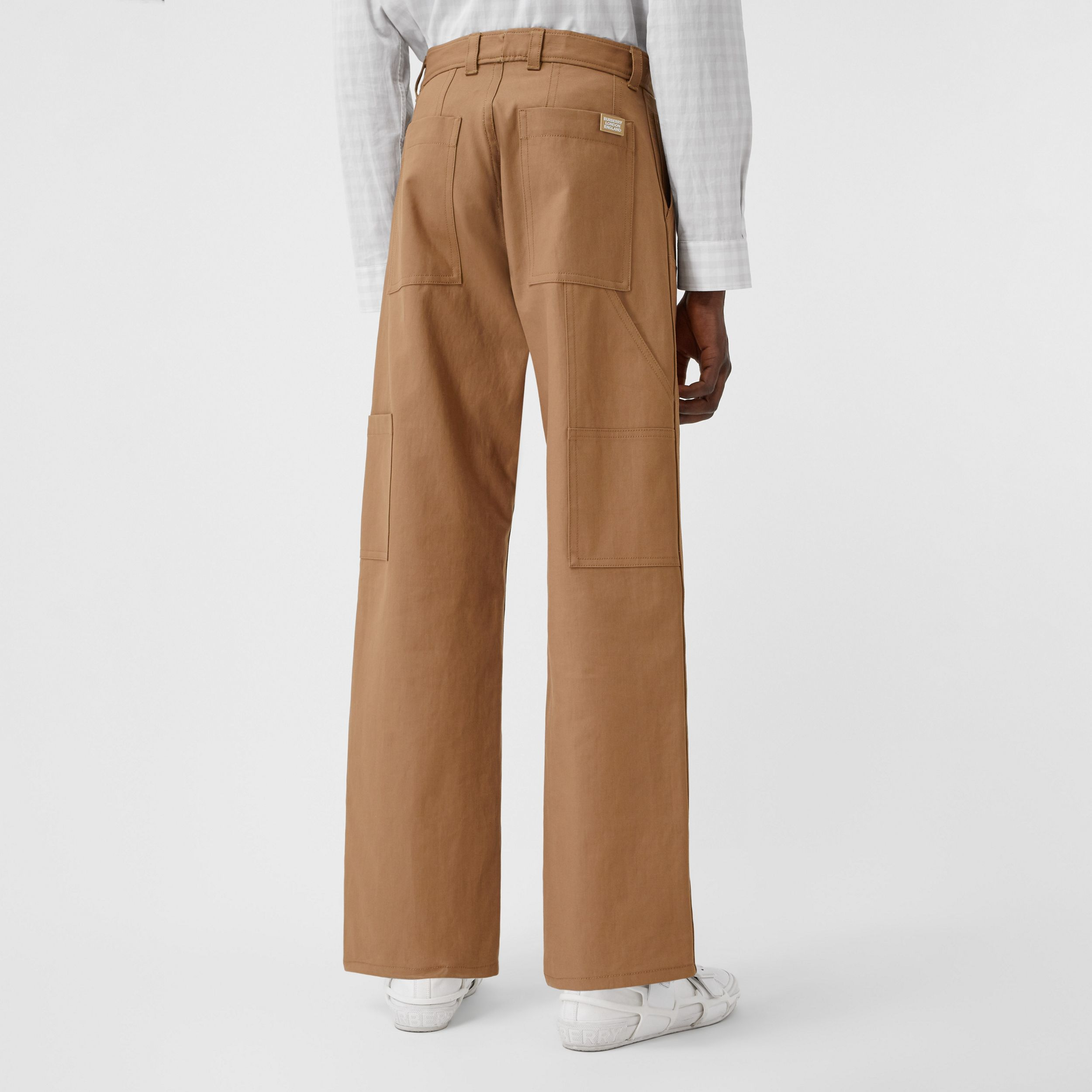Cotton Twill Tailored Trousers in Warm Walnut - Men | Burberry - 3