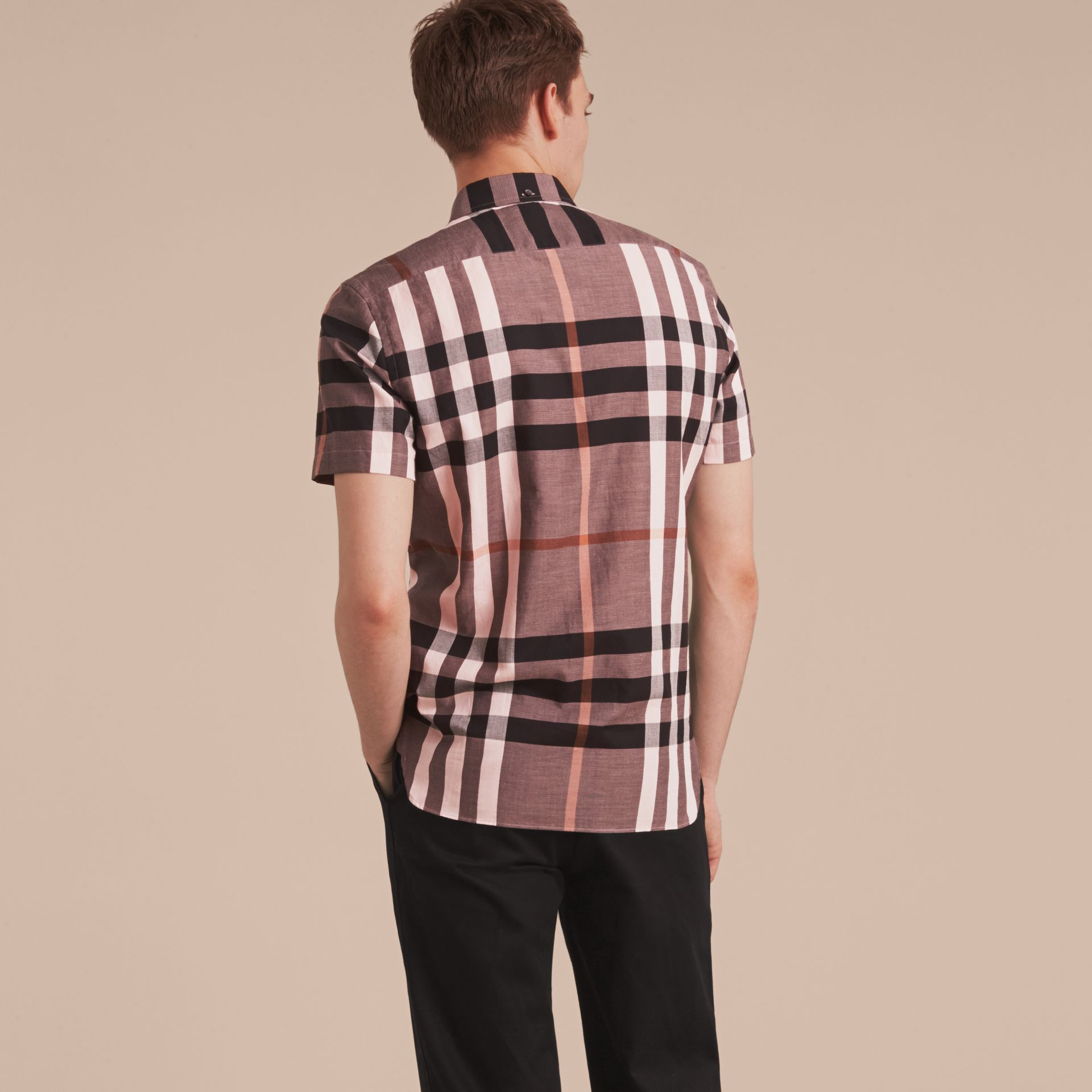 Button-down Collar Short-sleeve Check Cotton Shirt in Antique Rose - gallery image 3