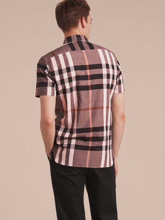 Button-down Collar Short-sleeve Check Cotton Shirt in Antique Rose - cell image 2