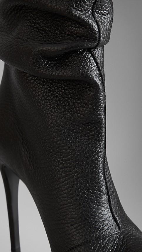 Black Peep-Toe Deerskin Boots - Image 4