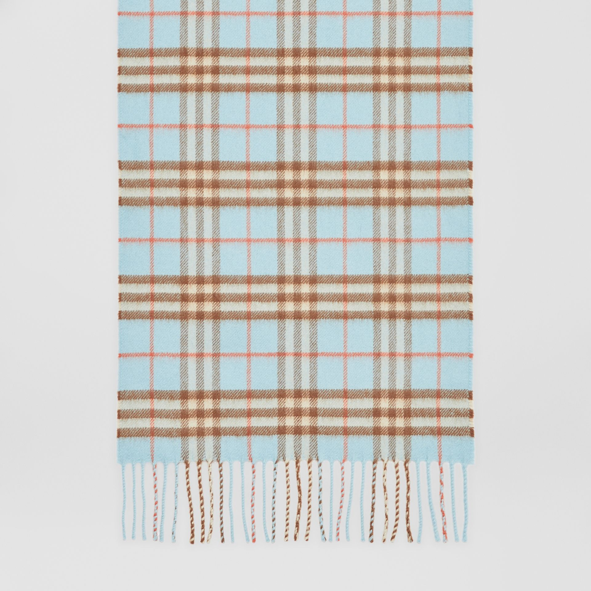The Classic Vintage Check Cashmere Scarf in Pale Peridot Blue | Burberry - gallery image 3