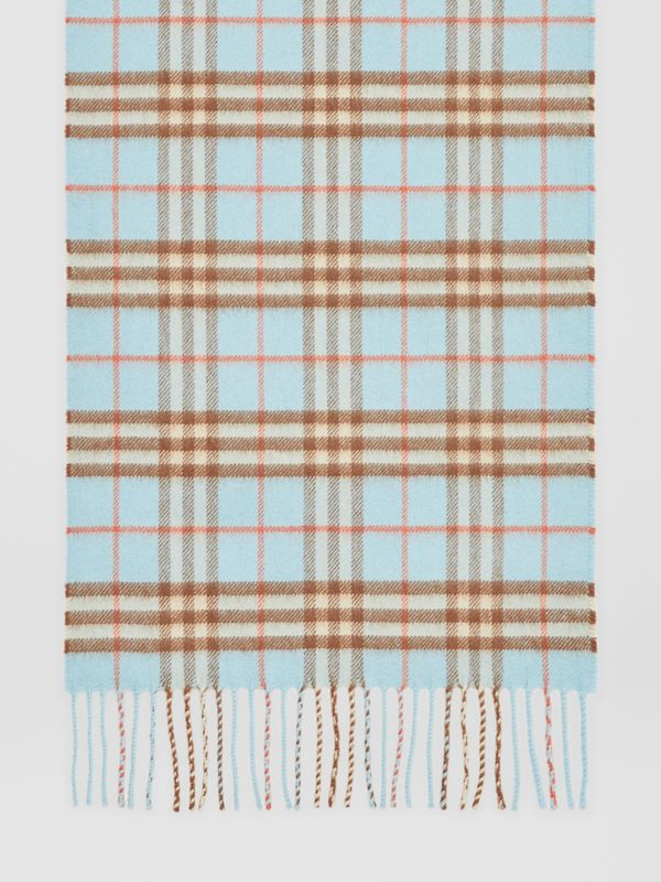 The Classic Vintage Check Cashmere Scarf in Pale Peridot Blue | Burberry - cell image 3