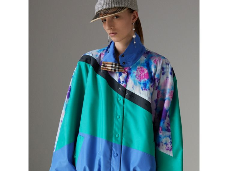 Tie-dye Silk Shell Suit Jacket in Turquoise - Women | Burberry - cell image 4