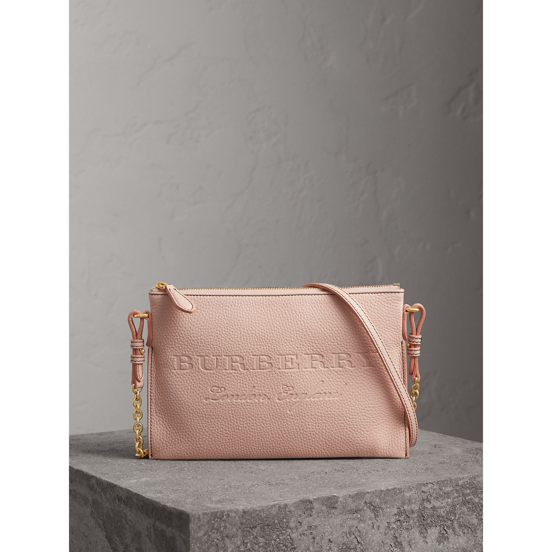 Embossed Leather Clutch Bag in Pale Ash Rose - Women | Burberry United Kingdom - gallery image 0