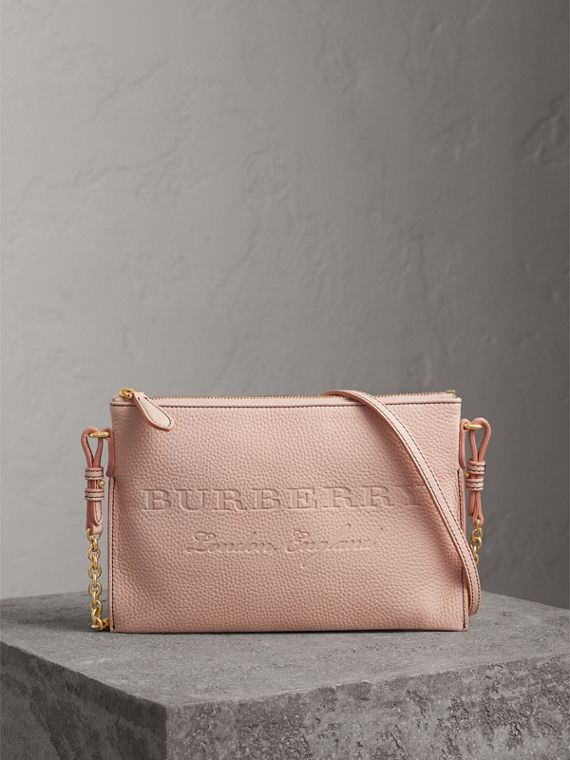 Embossed Leather Clutch Bag in Pale Ash Rose
