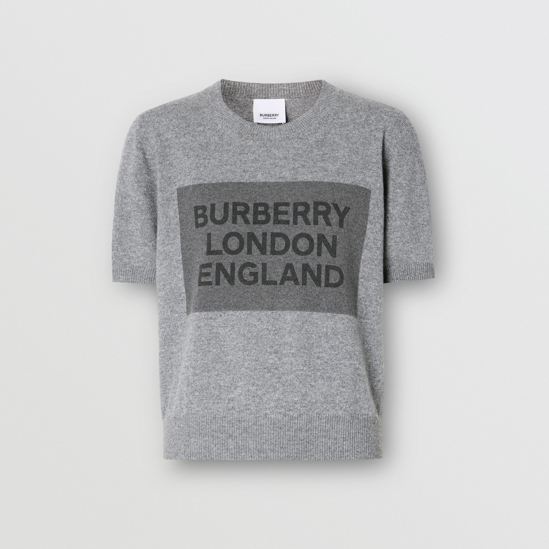 Short-sleeve Logo Detail Cashmere Top in Grey - Women | Burberry - gallery image 3