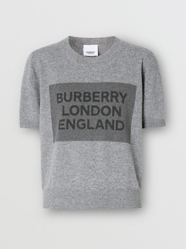 Short-sleeve Logo Detail Cashmere Top in Grey - Women | Burberry - cell image 3