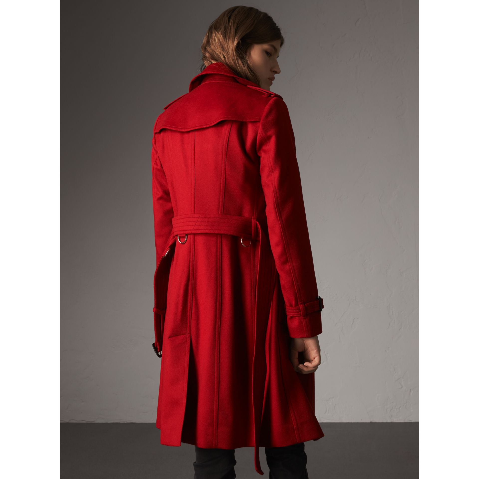 Sandringham Fit Cashmere Trench Coat in Parade Red - Women | Burberry - gallery image 3