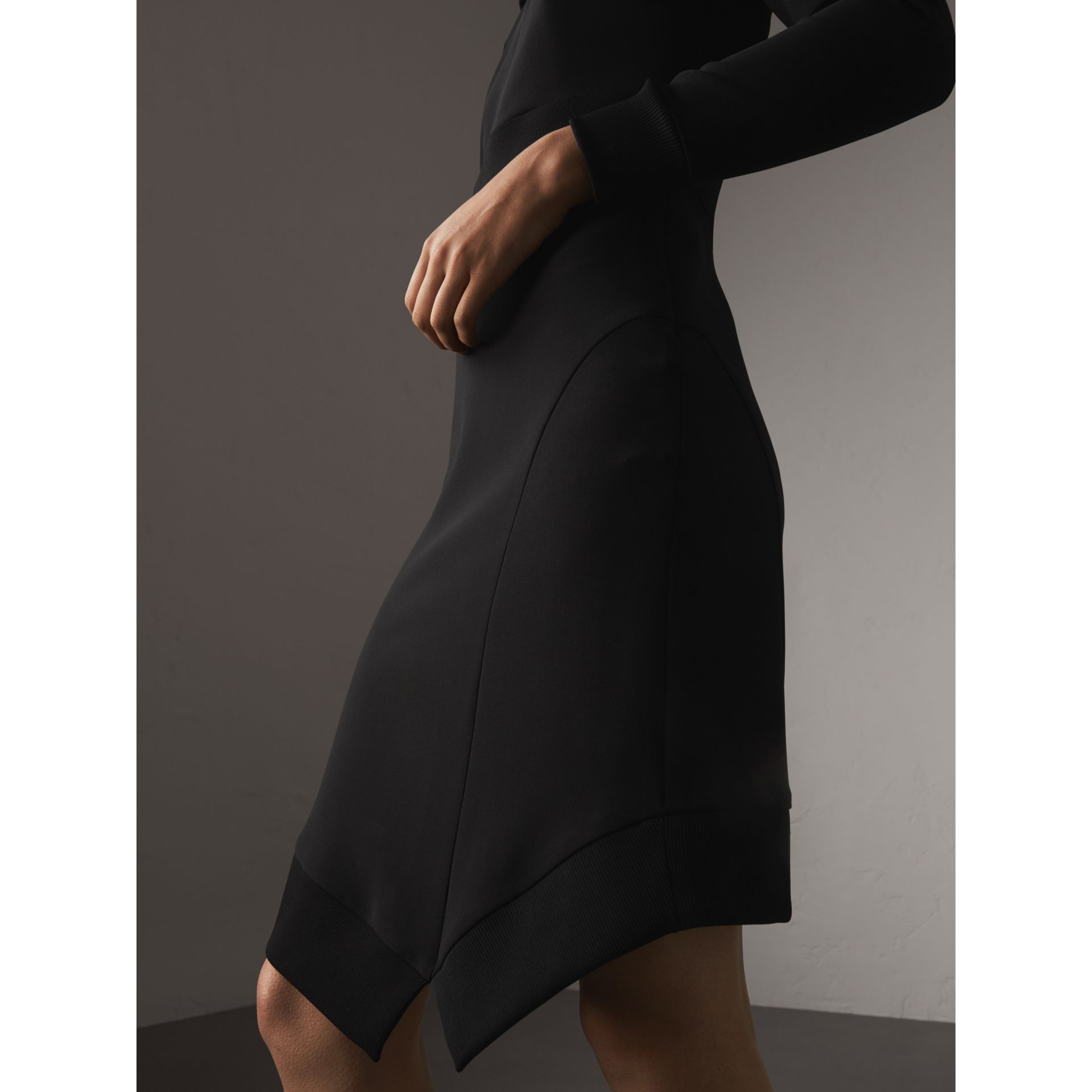 Ribbed Trim Crepe Asymmetric Dress in Black - Women | Burberry - gallery image 2