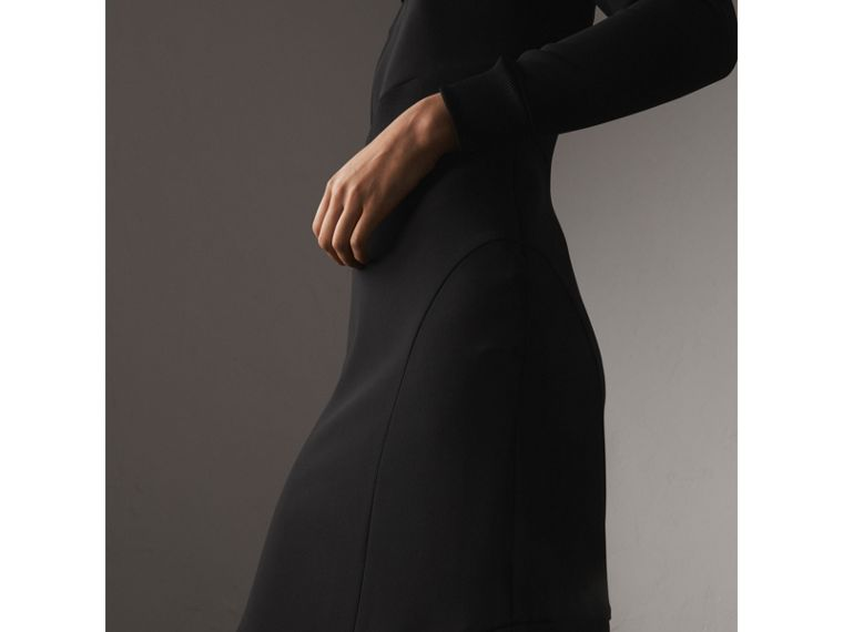 Ribbed Trim Crepe Asymmetric Dress in Black - Women | Burberry - cell image 1