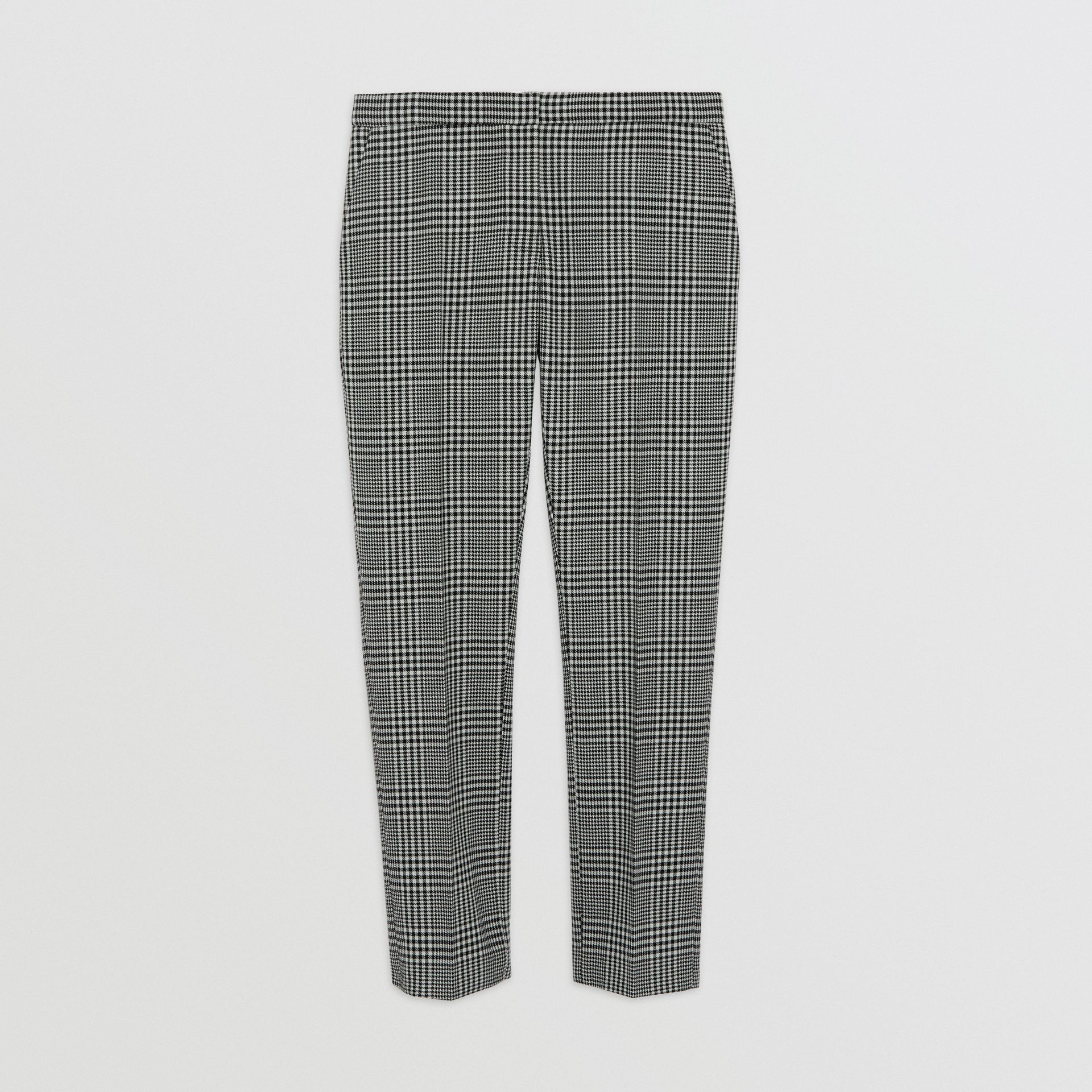 Straight Fit Prince of Wales Check Wool Trousers in Mist Green - Women | Burberry - gallery image 3