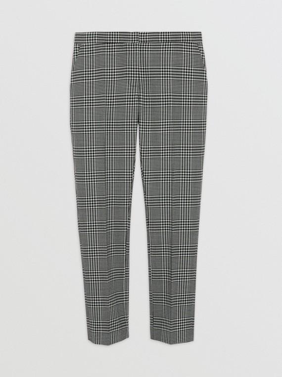 Pantalon droit en laine à motif check Prince de Galles (Vert Brume)