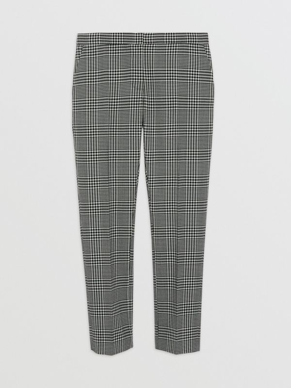 Straight Fit Prince of Wales Check Wool Trousers in Mist Green - Women | Burberry Australia - cell image 3