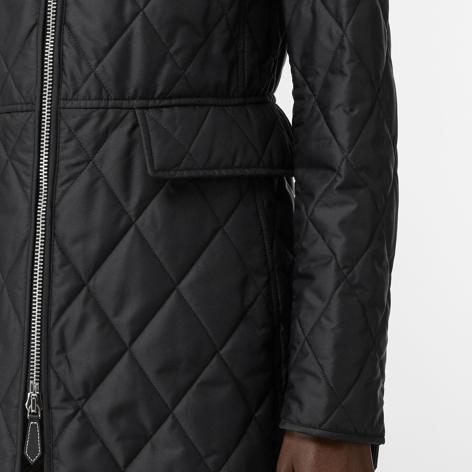 Monogram Motif Quilted Riding Coat in Black - Women | Burberry United Kingdom - gallery image 4