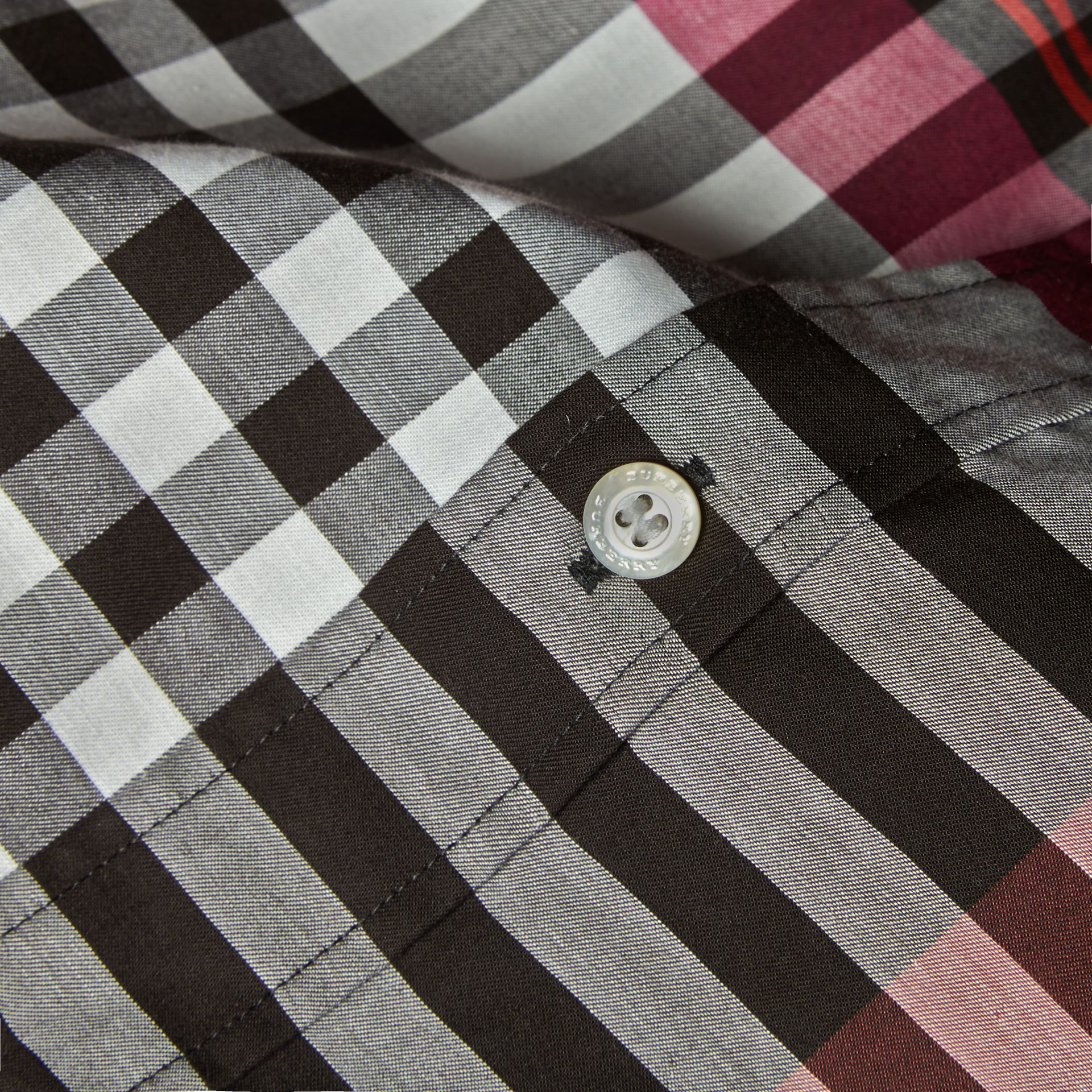 Graphic Tartan Cotton Shirt Deep Claret - gallery image 2
