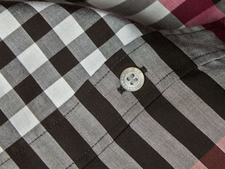 Graphic Tartan Cotton Shirt Deep Claret - cell image 1